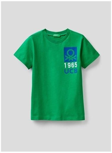 Benetton Benetton 322113096C151T Baskılı Erkek T-Shirt Yeşil